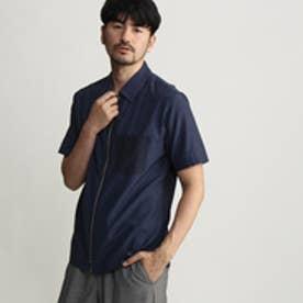 タケオ キクチ TAKEO KIKUCHI ジオメトリックプリントジップシャツ (ネイビー)