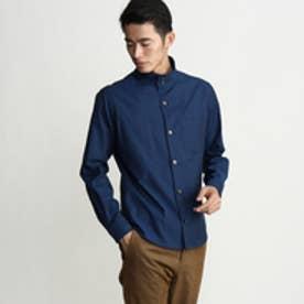 タケオ キクチ TAKEO KIKUCHI シャンブレースタンドカラーシャツ (ブルー)