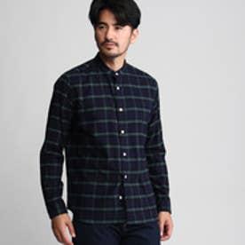 タケオ キクチ TAKEO KIKUCHI ビエラチェックバンドカラーシャツ (グリーン)