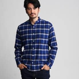 タケオ キクチ TAKEO KIKUCHI ビエラチェックバンドカラーシャツ (ブルー)