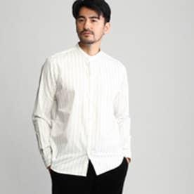 タケオ キクチ TAKEO KIKUCHI ストライプバンドカラーシャツ (ホワイト×ネイビー)