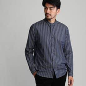タケオ キクチ TAKEO KIKUCHI ストライプバンドカラーシャツ (ネイビー×ホワイト)