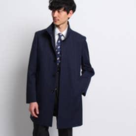 タケオ キクチ TAKEO KIKUCHI メランジシャークスキンボンディングスタンドカラーコート (ネイビー)