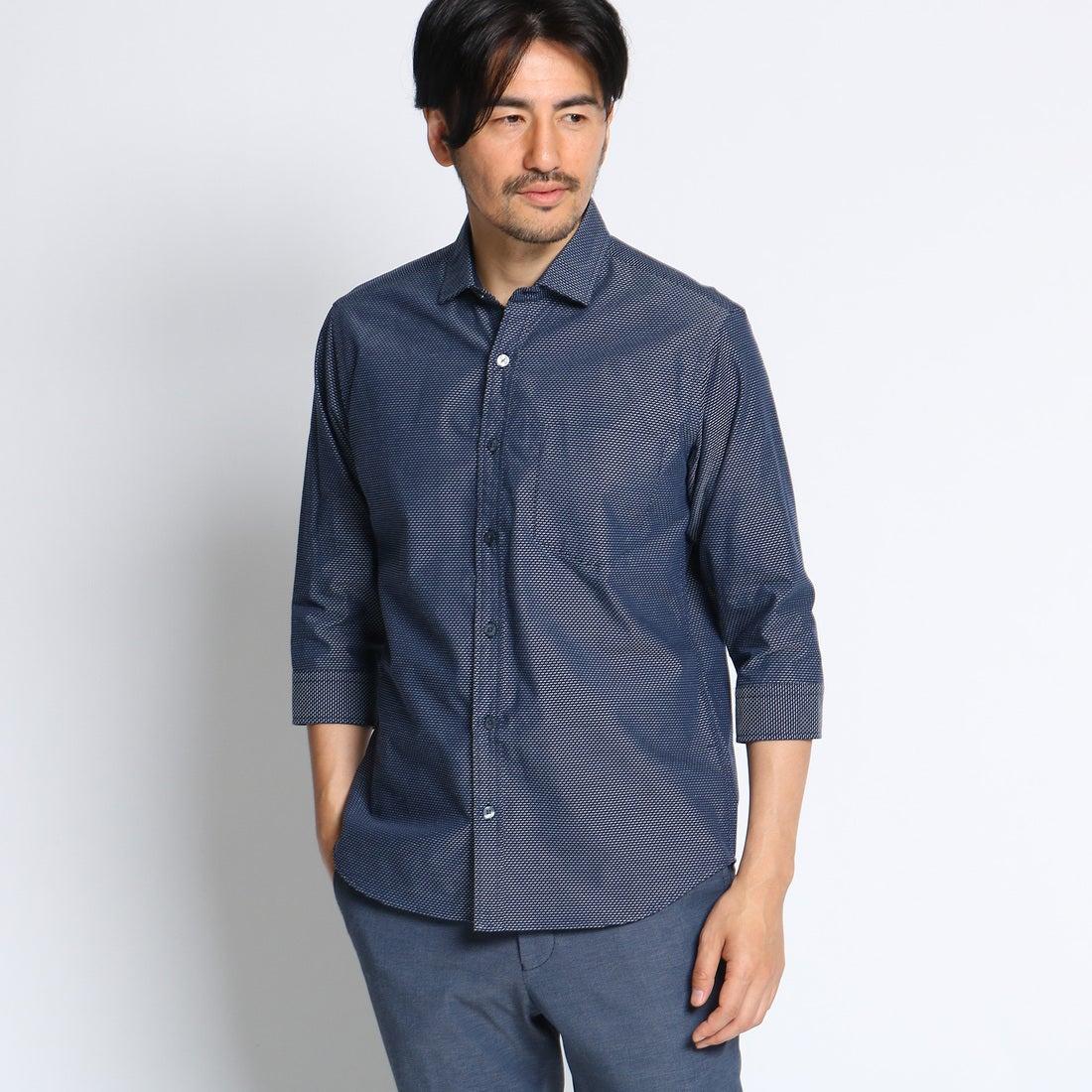 【SALE 50%OFF】タケオ キクチ TAKEO KIKUCHI ステッチボーダー7分袖シャツ [ メンズ シャツ 7分袖 ] (ブルー)