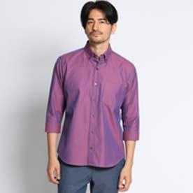 タケオ キクチ TAKEO KIKUCHI [TALL&LARGEサイズ]シャンブレーオックス7分袖シャツ (ワインレッド)