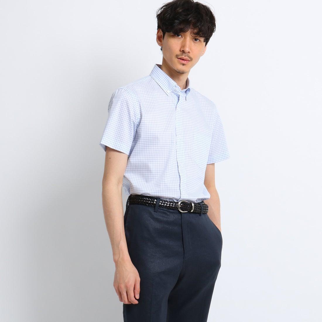 タケオ キクチ TAKEO KIKUCHI シャンブレーチェック半袖シャツ [ クールビズ クールマックス ] (ライトブルー)