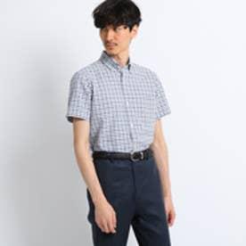 タケオ キクチ TAKEO KIKUCHI メランジギンガムチェック半袖シャツ [メンズシャツノンアイロン] (ブルー)