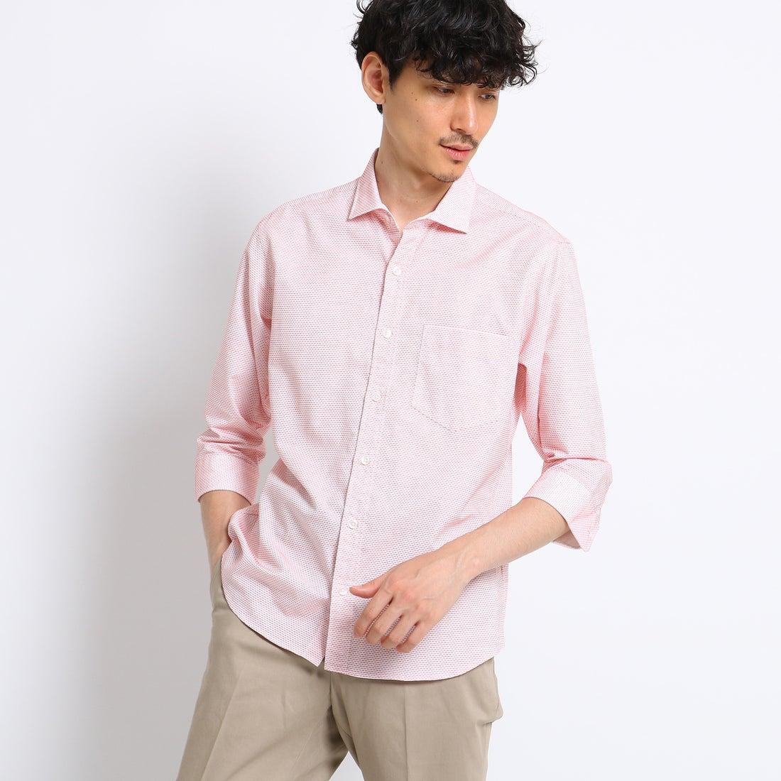 【SALE 50%OFF】タケオ キクチ TAKEO KIKUCHI ステッチボーダー7分袖シャツ [ メンズ シャツ 7分袖 ] (ピンク)
