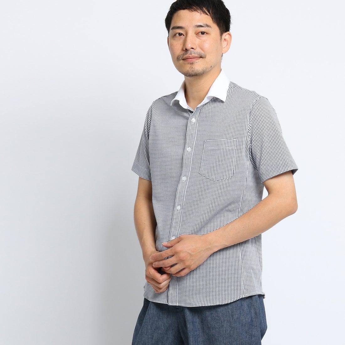 【SALE 30%OFF】タケオ キクチ TAKEO KIKUCHI [TALL&LARGEサイズ]千鳥柄クレリックシャツ [ メンズ クールマックス クールビズ ] (ホワイト)