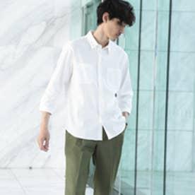 タケオ キクチ TAKEO KIKUCHI リネンレーヨンストレッチ7分袖シャツ[ メンズ シャツ ストレッチ ] (ホワイト)
