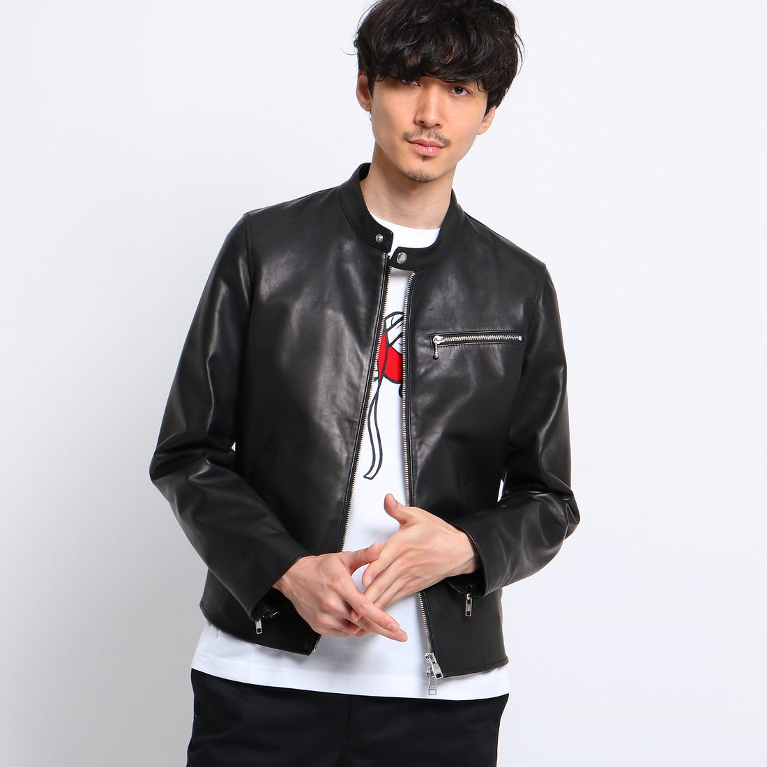 タケオ キクチ TAKEO KIKUCHI 羊革シングル ライダース [ メンズ レザー ] (ブラック)