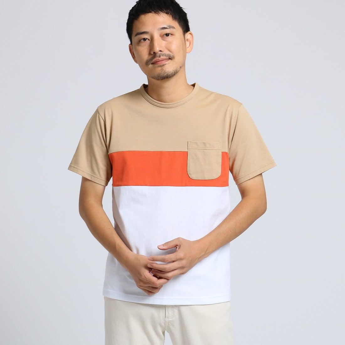 【SALE 40%OFF】タケオ キクチ TAKEO KIKUCHI カラー切替 ボーダー Tシャツ[ メンズ Tシャツ クールマックス ] (ベージュ)