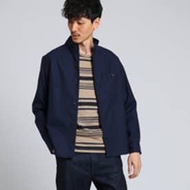 タケオ キクチ TAKEO KIKUCHI スタンドカラーツイルシャツ (ネイビー)
