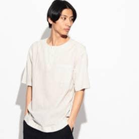 ティーケー タケオ キクチ tk.TAKEO KIKUCHI ストライプノーカラーシャツ (アイボリー)