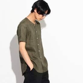 ティーケー タケオ キクチ tk.TAKEO KIKUCHI フランダースリネンノーカラー半袖シャツ (オリーブグリーン)