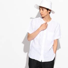 ティーケー タケオ キクチ tk.TAKEO KIKUCHI フランダースリネンノーカラー半袖シャツ (ホワイト)