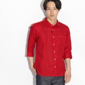 ティーケー タケオ キクチ tk.TAKEO KIKUCHI フランダースリネン 7分袖シャツ (レッド)