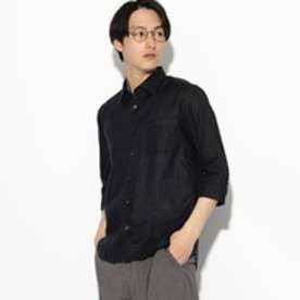 ティーケー タケオ キクチ tk.TAKEO KIKUCHI フランダースリネン 7分袖シャツ (ブラック)