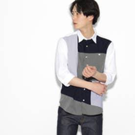 ティーケー タケオ キクチ tk.TAKEO KIKUCHI パッチワーク7分袖シャツ (ネイビー)