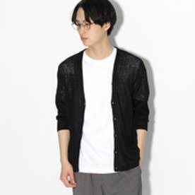 ティーケー タケオ キクチ tk.TAKEO KIKUCHI LINIFICIO 7分袖リネンニットカーディガン (ブラック)