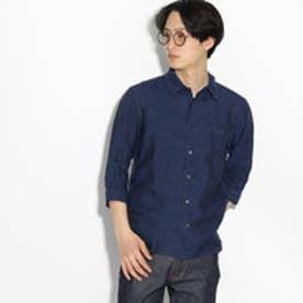 ティーケー タケオ キクチ tk.TAKEO KIKUCHI フランダースリネン 7分袖シャツ (ネイビー)