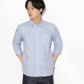 ティーケー タケオ キクチ tk.TAKEO KIKUCHI フランダースリネン 7分袖シャツ (ライトブルー)
