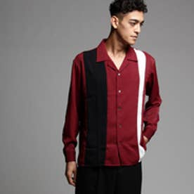 ティーケー タケオ キクチ tk.TAKEO KIKUCHI パネルカラー開襟シャツ (ボルドー×ブラック×ホワイト)