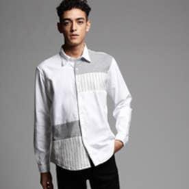ティーケー タケオ キクチ tk.TAKEO KIKUCHI ブロッキングシャツ (ホワイト×グレー×ストライプ)
