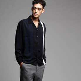 ティーケー タケオ キクチ tk.TAKEO KIKUCHI パネルカラー開襟シャツ (ブラック×ネイビー×ホワイト)