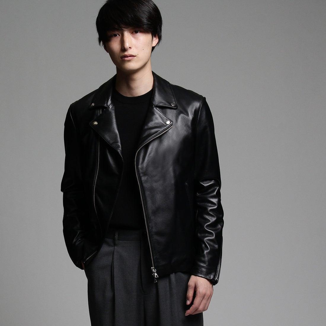 ティーケー タケオ キクチ tk.TAKEO KIKUCHI ラムレザーダブルライダースジャケット (ブラック)