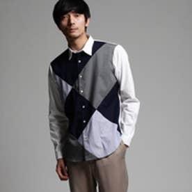 ティーケー タケオ キクチ tk.TAKEO KIKUCHI アーガイルパッチワークシャツ (ネイビー×ブルー×グレー)