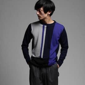 ティーケー タケオ キクチ tk.TAKEO KIKUCHI カラーパネルニット (ネイビー×グレー×ブルー)