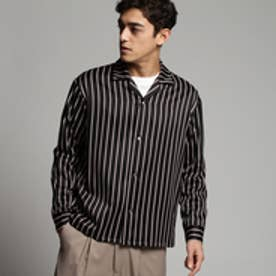 ティーケー タケオ キクチ tk.TAKEO KIKUCHI レジメンストライプオープンカラーシャツ (ブラック)