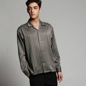 ティーケー タケオ キクチ tk.TAKEO KIKUCHI レジメンストライプオープンカラーシャツ (グレー)