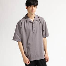 ティーケー タケオ キクチ tk.TAKEO KIKUCHI 鹿の子 製品染め開襟ポロシャツ (ダークグレー)