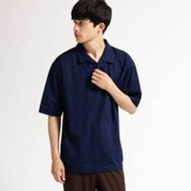 ティーケー タケオ キクチ tk.TAKEO KIKUCHI 鹿の子 製品染め開襟ポロシャツ (ネイビー)