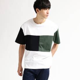 ティーケー タケオ キクチ tk.TAKEO KIKUCHI カラーブロック天竺Tシャツ (ホワイト×ブラック×グリーン)