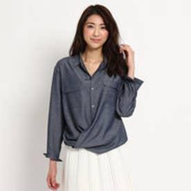 アンタイトル UNTITLED オフボディデニムカシュクールシャツ (ネイビー)