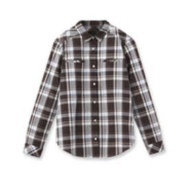 アンタイトル UNTITLED マドラスチェックシャツ (ダークブラウン)