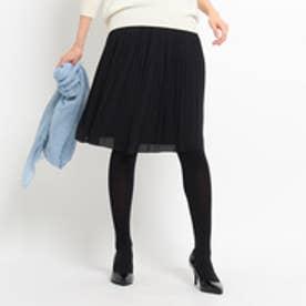 アンタイトル UNTITLED [L]ラフィネジョーゼット消しプリーツスカート (ブラック)
