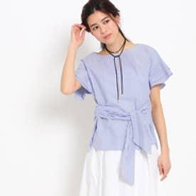 アンタイトル UNTITLED 〔洗える〕フロントリボンストライプシャツ (ブルー)