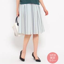 アンタイトル UNTITLED [L]〔洗える〕サテンストライプスカート (ライトグレー)