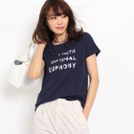 アンタイトル UNTITLED 〔洗える〕箔プリントロゴTシャツ (ネイビー)