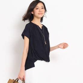 アンタイトル UNTITLED [L]〔洗える〕シルキーファイユシャツ (ネイビー)