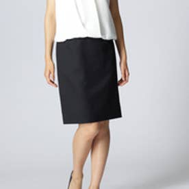 アンタイトル UNTITLED ウール混ピンストライプスカート (ブラック)