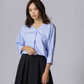 アンタイトル UNTITLED [L]シャーリング袖ストライプシャツ (ライトブルー)
