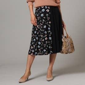 アンタイトル UNTITLED [L]【洗える】フラワー配色フレアスカート (ブラック)