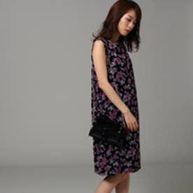 アンタイトル UNTITLED ロゼオパールフラワープリントドレス (ブラック)