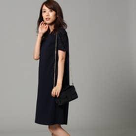アンタイトル UNTITLED 【洗える】ぺシェツイルサックドレス (ブルー系)