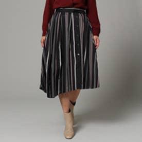 アンタイトル UNTITLED 〔洗える〕イレギュラーヘムストライプスカート (ブラック)